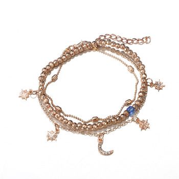 New Boho Multilayer Shell Beads Anklets For Women Moon Sun Vintage Beach Rope Ankle Bracelet on Leg Summer Foot Jewelry 3