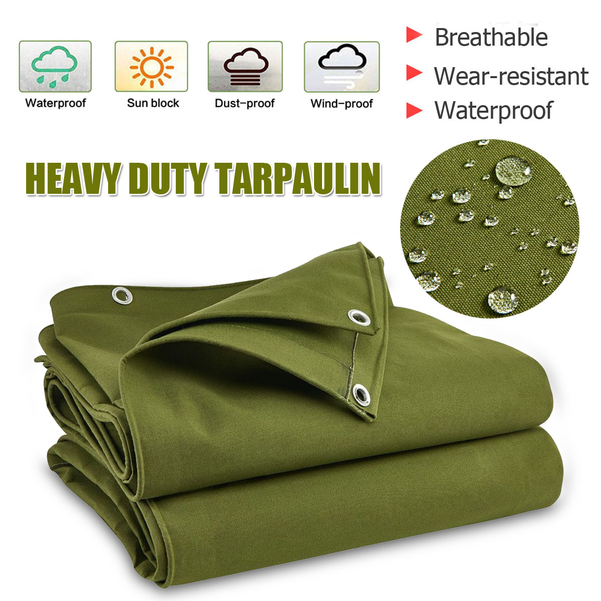 Large Heavy Duty Army Green Canvas Tarp Tarpaulin Sunshade Sun Blocked Waterproof Dustproof Outdoor Shelter Awning Accessories