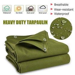 Large Heavy Duty Army Green Canvas Tarp Tarpaulin Sunshade Sun Blocked Waterproof Dustproof Outdoor Shelter Awning Accessories