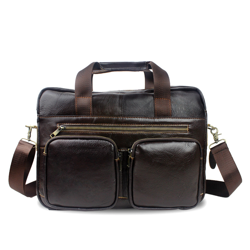 ФОТО Men Bag Genuine Leather Men Messenger Shoulder Bags Men's Crossbody Bag Men's Briefcase Leather Laptop Bags 14 '' Handbag