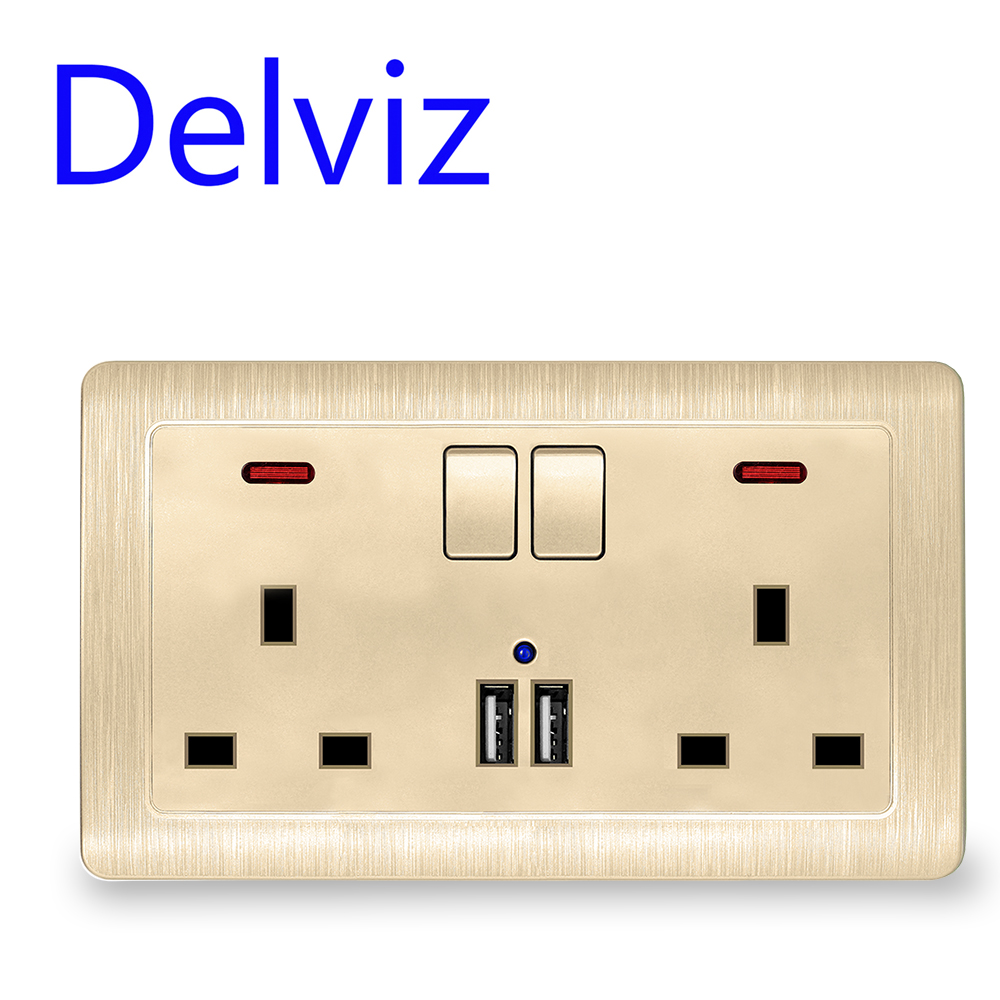 UK standard double usb socket mobile phone quick charging Family hotel decoration 110-250V 2Ausb interface 13A wall power outlet(China)