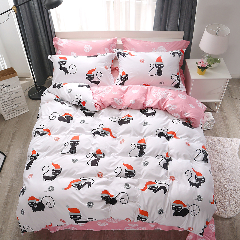 Home textile Stylish Simplicity Christmas Pink Naughty Cat Cartoon 3/4pcs Bedding Sets Contain Duvet Cover Bed Sheet PillowcaseHome textile Stylish Simplicity Christmas Pink Naughty Cat Cartoon 3/4pcs Bedding Sets Contain Duvet Cover Bed Sheet Pillowcase