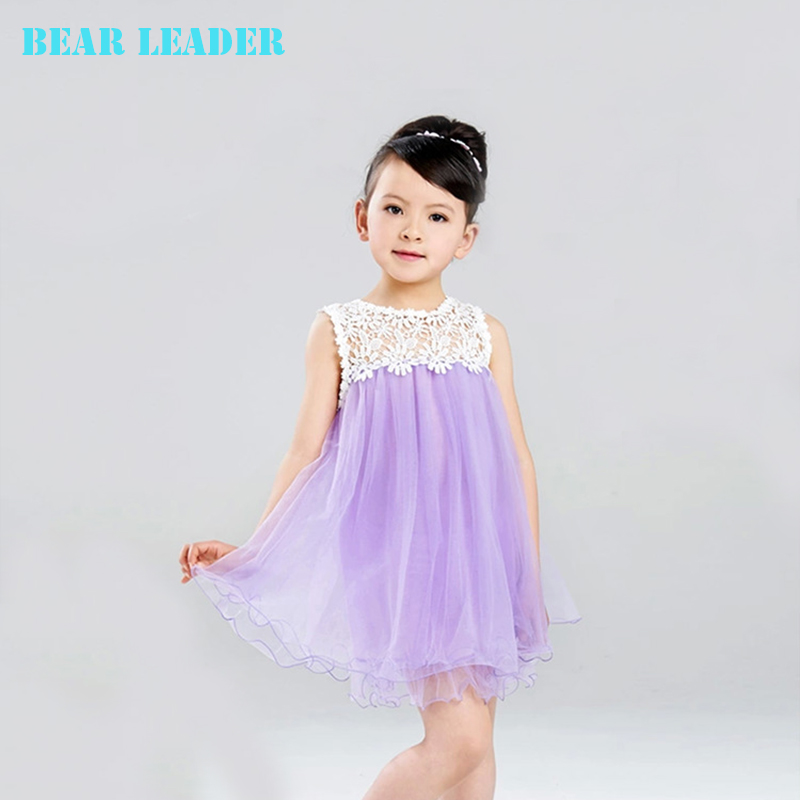 Bear Leader Girls dress 2016 Summer New Sleeveless han edition veil baby Lace princess dress children clothes casual style bear leader girls dress 2016 new summer style party dress stella the swallow embroidered sleeveless dress girls princess dress