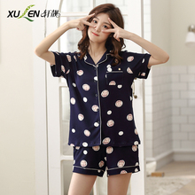 Women cotton pajama set cartoon kawaii pajamas short sleeve suit night shorts summer sleep