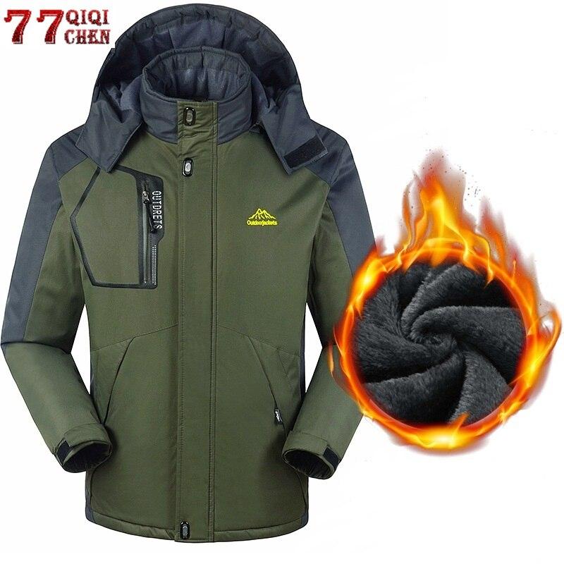 Plus Size 6XL 7X 8XL Men Winter Snow Warm Parkas Coats Thick Velvet Waterproof Windproof Hood Jacket Men Fleece Tourism Overcoat