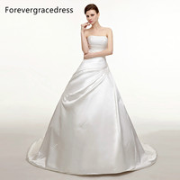 Forevergracedress Vintage Strapless Long Wedding Dress New White Satin With Lace Up Back Bridal Gown Plus