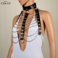 Chran Leather Harness Bondage Body Chain O Ring Collar Goth Choker Shoulder Necklace Jewelry Accessories Erotic