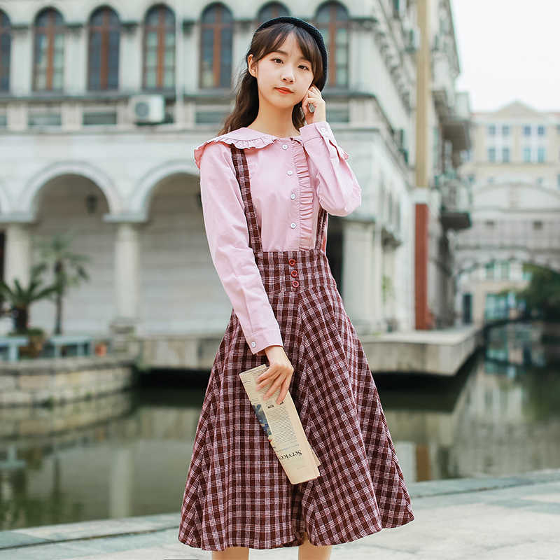 01bd253e52e ... 2019 Japanese Mori Girl Women Spring Sundress Suspenders Plaid Vintage  Sleeveless Dress Elegant Cute Kawaii Preppy ...