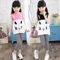 2PC Baby Girl Vest +Pants Suit Summer Kids Twinset Cartoon Tops Sleeveless Waistcoats Children Outwear Clothes Set