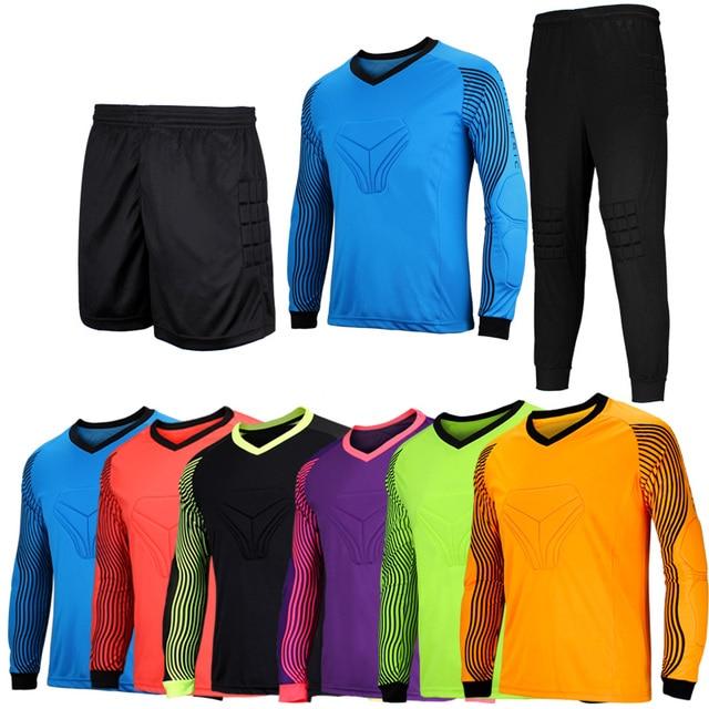 e690fed447 Criança Adulto Uniforme Goleiro Goleiro de Futebol Jersey Conjunto Protetor  Da Esponja Pode Ser Personalizado Calções