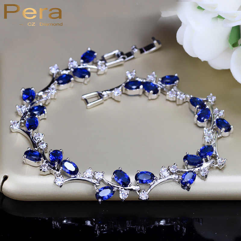 Pera Natural Royal Color Women Jewelry Sterling Silver Dark Blue Cubic Zirconia Crystal Bracelets Bangle For Party Gift B042