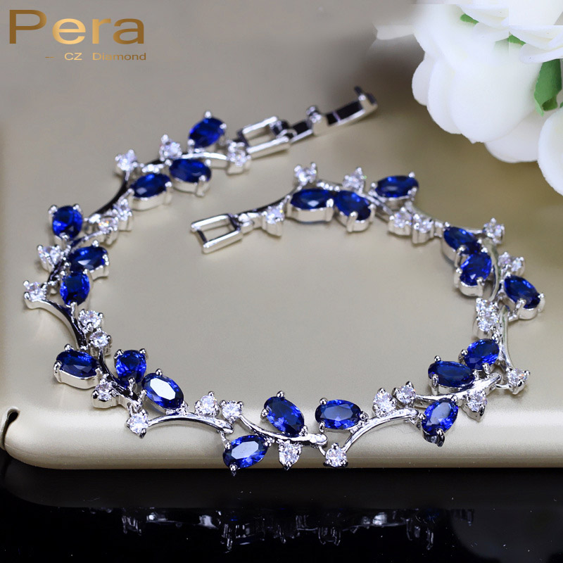 Pera Natural Royal Color Women Jewelry Sterling Silver Dark Blue Cubic Zirconia Crystal Bracelets Bangle For Party Gift B042 In Chain Link From