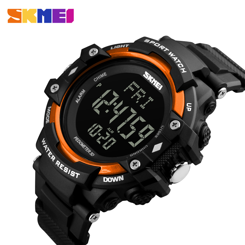 <font><b>SKMEI</b></font> Men Sport Watch Pedometer Heart Rate Monitor Calories Counter 50M Waterproof LED Display Digital Watch reloj hombre <font><b>1180</b></font> image
