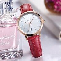 2017 Luxury Brand CADISEN Sports Ladies Watch Leather Ultra Thin Gold Quartz Watch Ladies Clock Relogio