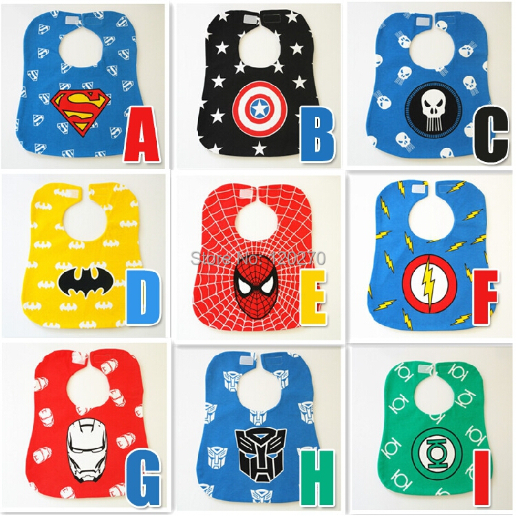Superman Batman Spiderman Captain America Cartoon Waterproof Baby Bibs Newborn Infant Boys Girls Burp Cloths - Honey Baby's store