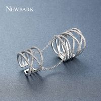 NEWBARK Vintage Three Cross X Shape Two Rings With Chain Jewelry Paved Micro Zirconia Silver Color Jewelry For Women Party Gifts
