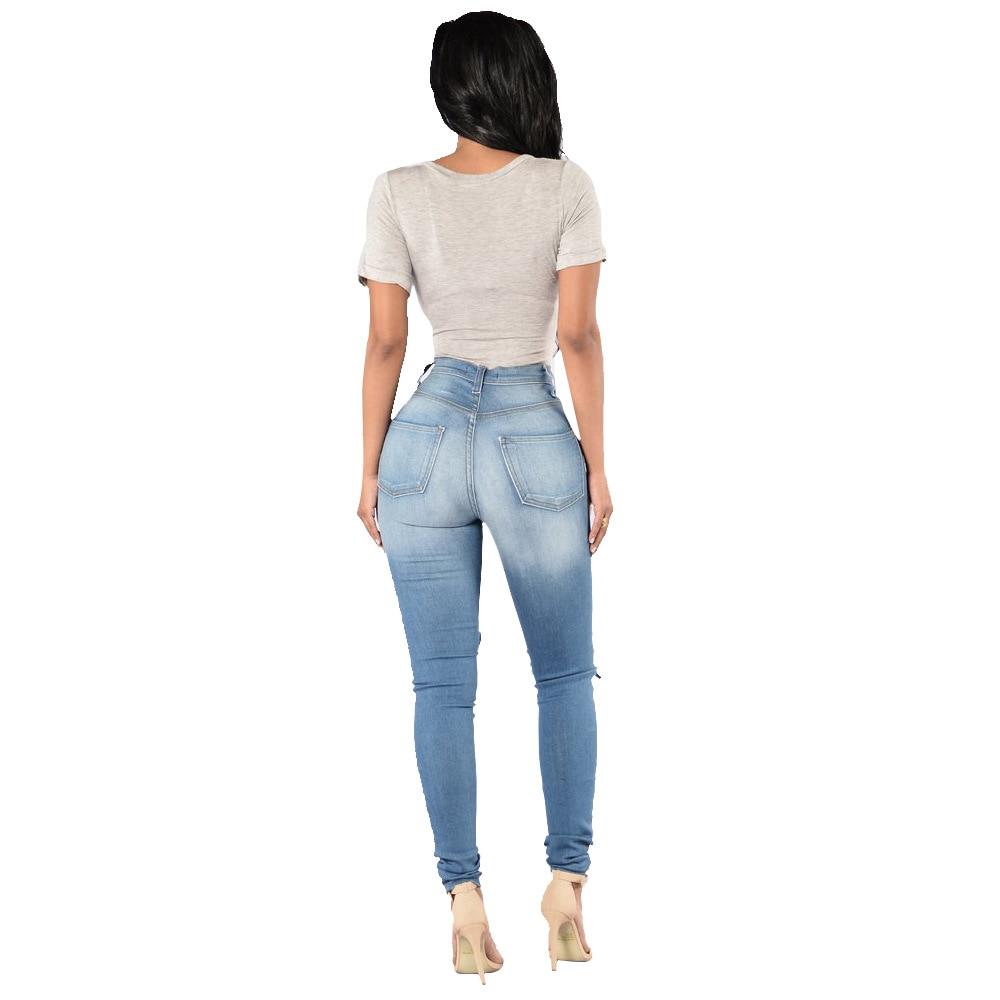 1711215c5e US $35.42  SEJIAN 2017 Destroyed Jeans Delle Donne Sexy Pantaloni di  Stirata Jeans Stretti Foro Denim Femminile A Vita Alta Pant Y155 in SEJIAN  2017 ...