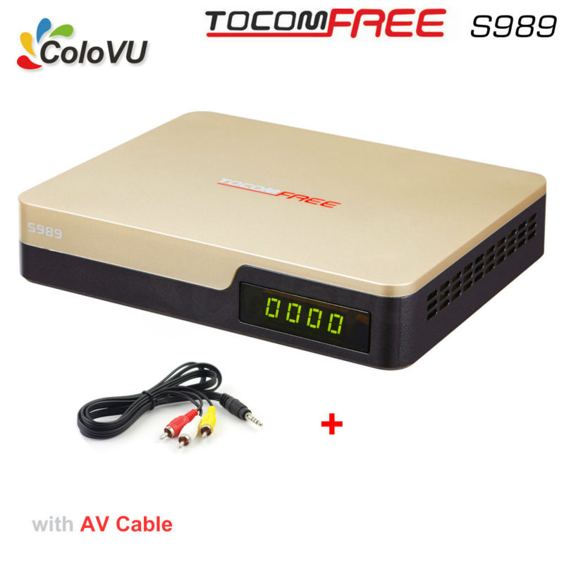 Satellite TV Receiver TocomFree S989 + AV Cable with Free IKS SKS IPTV for Brazil Chile Peru Argentina Colombia South America az american s930a twin tuner satellite receiver for south america nagra3