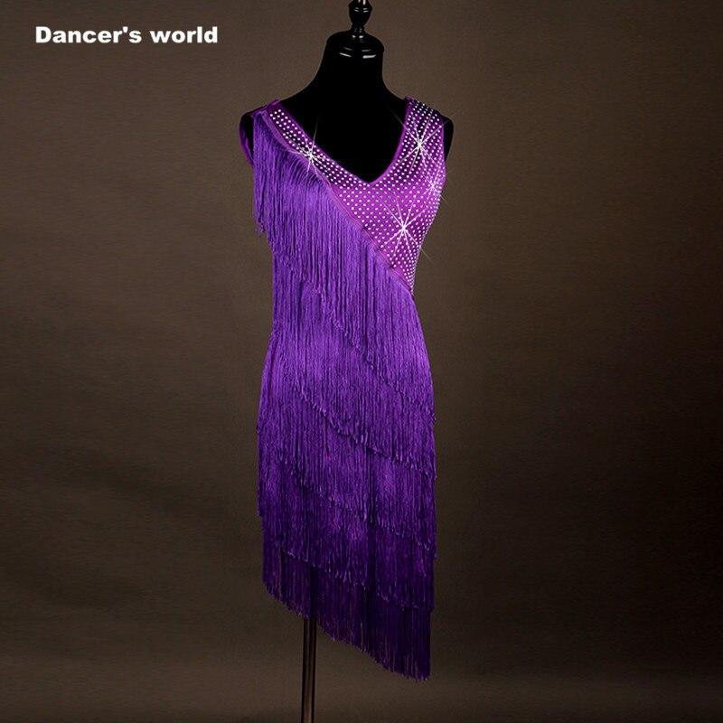 Nouveauté danse latine robe femmes filles danse vêtements gland Salsa Samba Tango salle de bal Costume dame danse haut