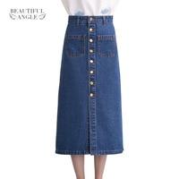 2017 Fashion Women Denim Skirts Long Skirt High Waist Jeans Skirts Jeans Feminina Casual A Line