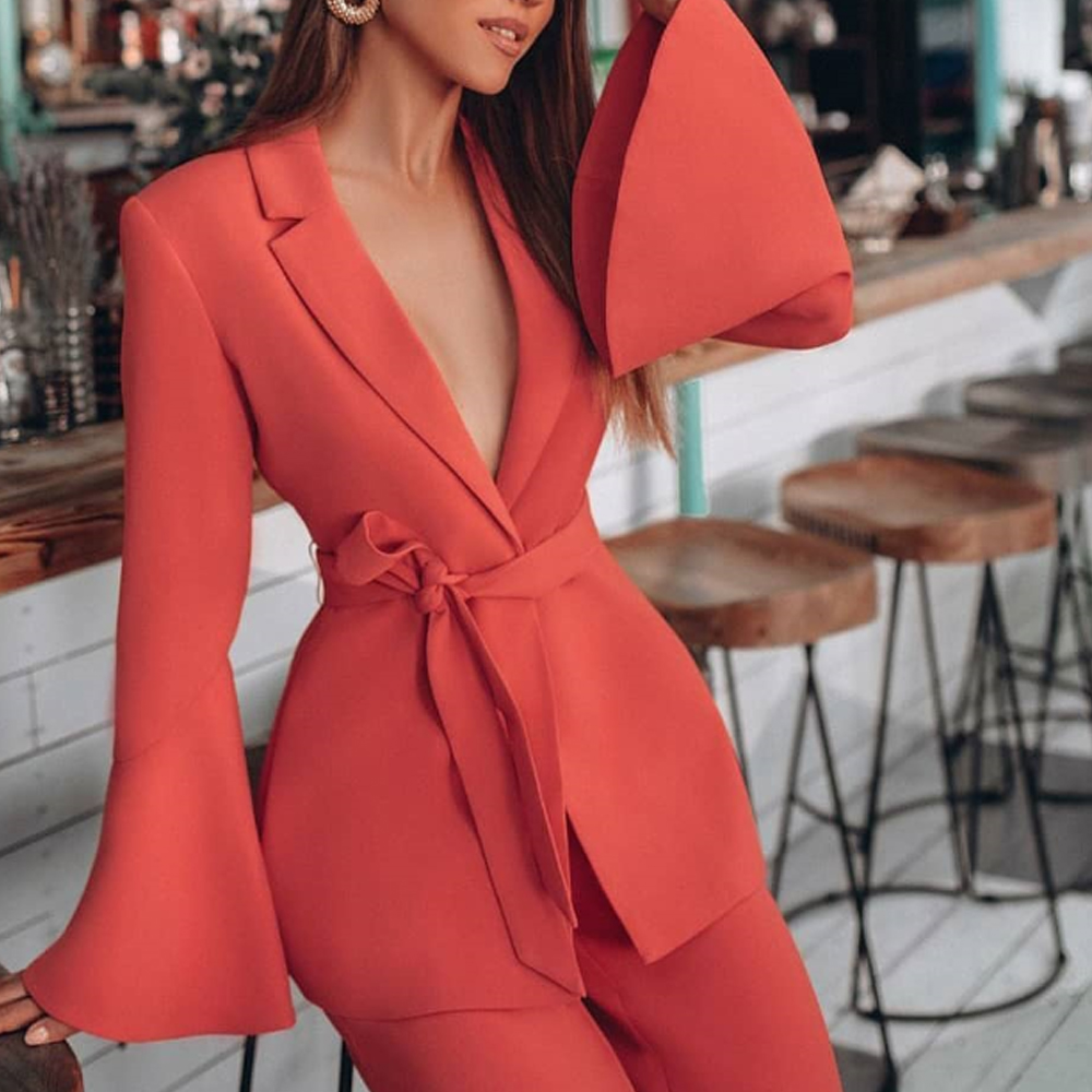 Missord 2019 Sexy Deep V Blazer And Pants Two Pcs Sets Elegant Solid Color Speaker Sleeve  Formal Suits Jumpsuit FT19502
