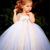 白ヴィンテージ手作りチュールフラワーガールドレス王女衣装子供キッズウエディングパーティーウェディングドレス女の赤ちゃんチュチュドレス