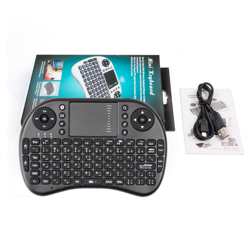 Free shipping For Israel Hebrew English arabic Multi-touch Rii i8 mini keyboard 2.4GHz wireless Gaming fly air mouse for tv box