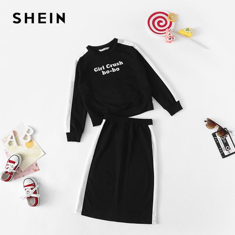 SHEIN Girls Black Letter Print Casual Top And Skirt Two Piece Set Kids Clothing 2019 Spring Long Sleeve Children Clothes Set retro rose print letter sleeveless fit and flare dress