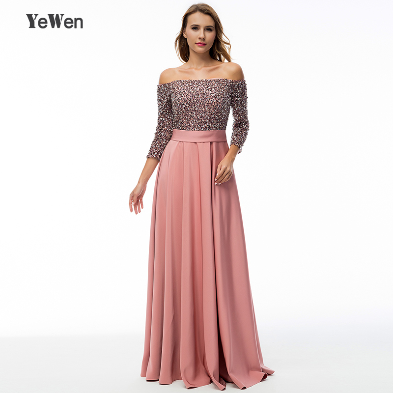 saudi arabia Deep Pink sequin long sleeve   evening     dress   long 2018 formal gowns off shoulder mother of the bride   dresses   elegant