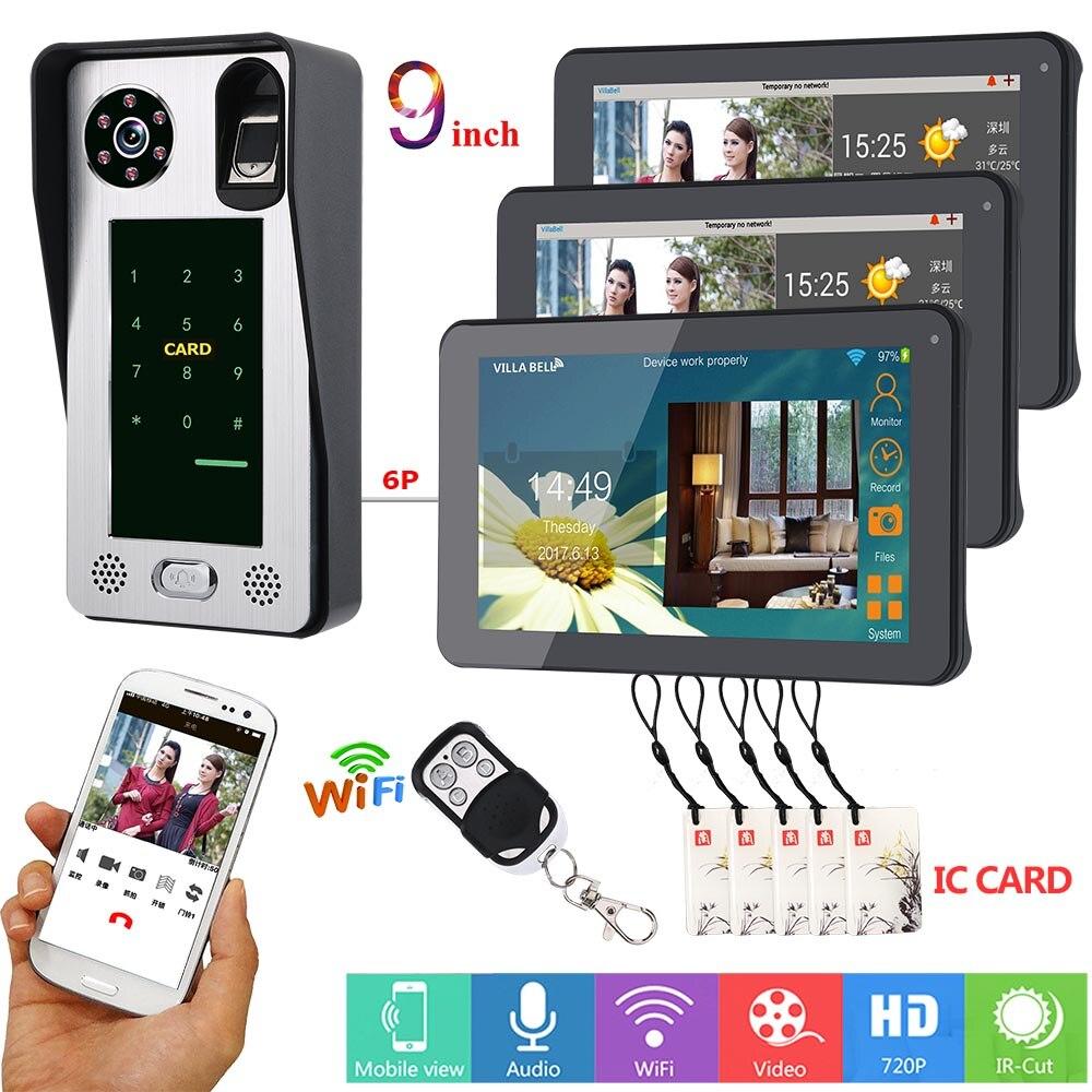 MOUNTAINONE APP Control 9 Inch 3Monitors Wifi Wireless Video Door Phone Doorbell Intercom Fingerprint Password IC Card Camera
