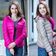 LEFT ROM 2018 Winter Two Side Women 90% White Duck Down Jacket Women's Hooded Ultra Light Down Jackets Warm Winter Coat Parkas