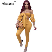 Abasona Sexy Jumpsuits Women Off Shoulder Rompers Jumpsuit Party Wear Bow Tie Two Piece Outfits Women
