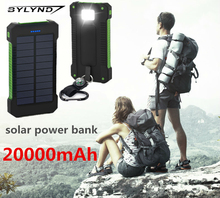 Universal 20000mAh Waterproof Solar Power Bank Dual USB External Battery Portable Charger poverbank Pack For iPhone xiaomi