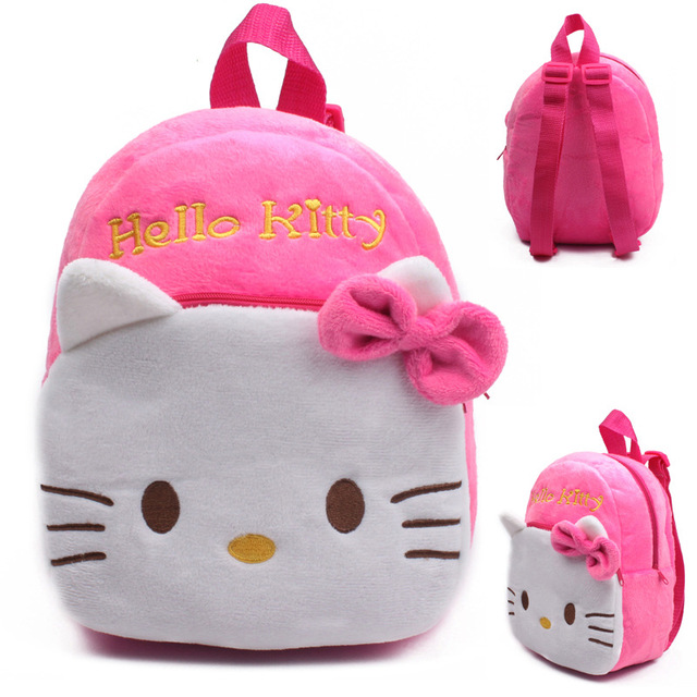 f5881817def8 2016 High Quality Rose Red Hello Kitty Plush Cartoon Toy Backpack Girl  Character School Bag Gift For Kids Mochila Infantil