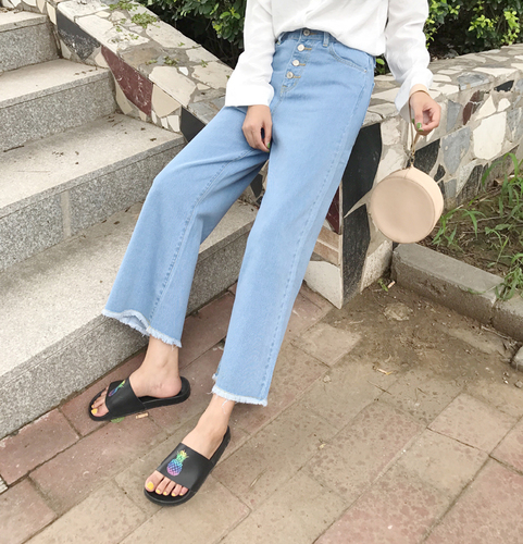 2019 New Arrival Octeyam Ankle-length Pants Button Fly High Stripe Loose Straight Casual   Jeans