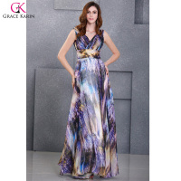 Print Dress Grace Karin V Neck Painting Evening Dresses 2016 New Arrival Party Gowns Elegant Formal
