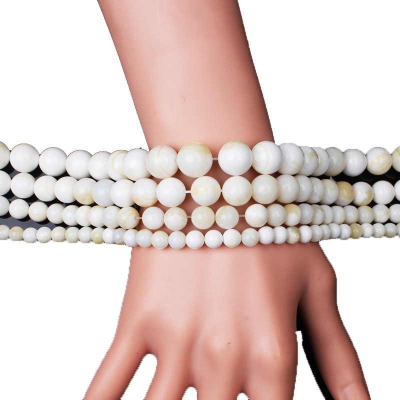 Neue Shell Perlen 6 8 10 12 MM Runde Natürliche Weiße Gold draht Tridacna Stein Perlen Für DIY Bezaubert Halskette Armband,