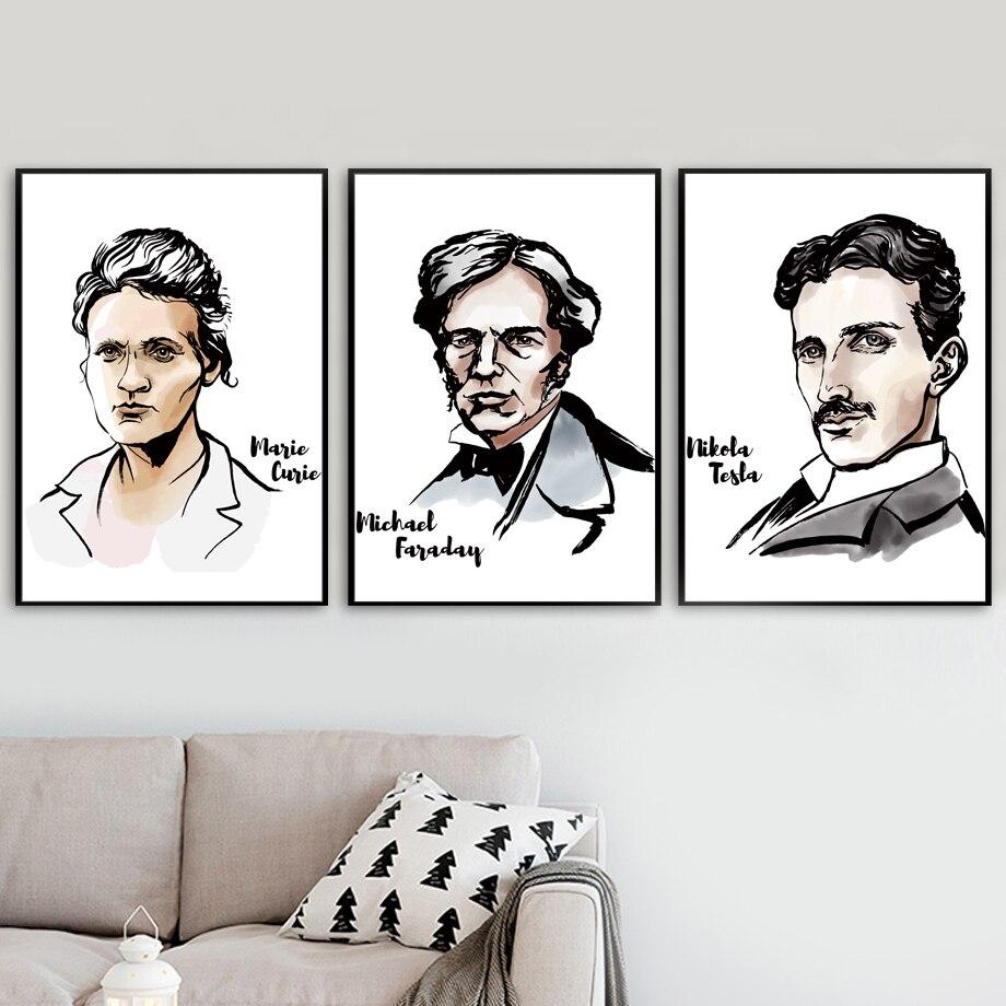 marie curie michael faraday nikola tesla wand kunst leinwand malerei nordic poster und drucke wand bilder fur wohnzimmer decor
