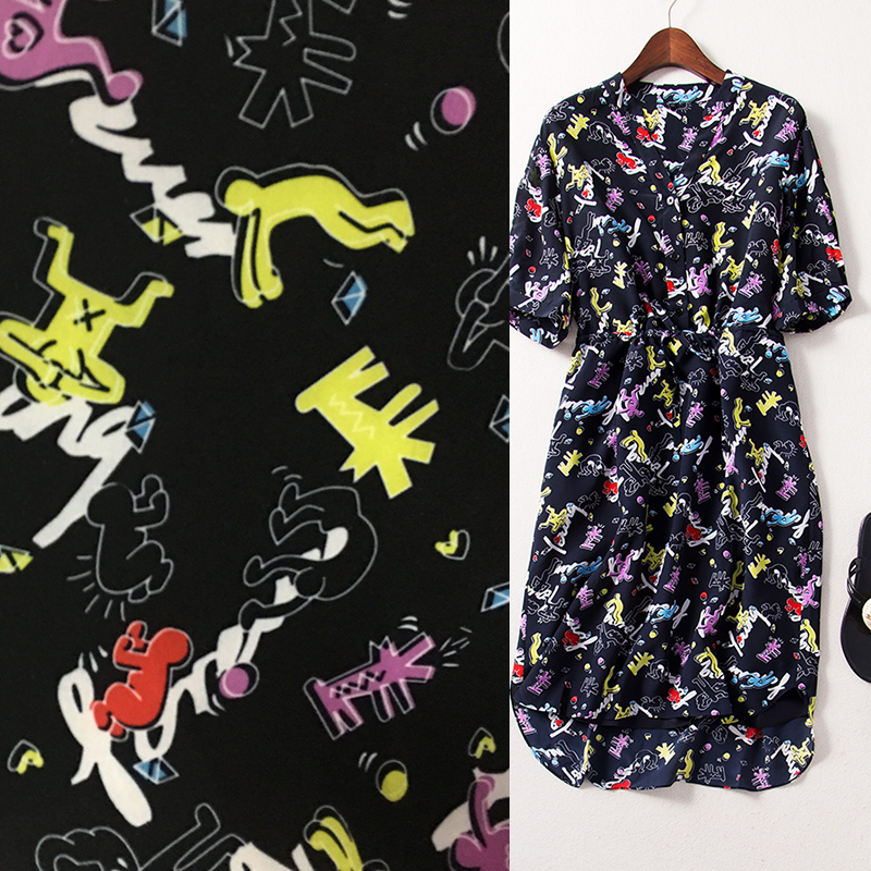 Cute cartoon printing space cotton fabrics imported cotton abstract color thin air villain black