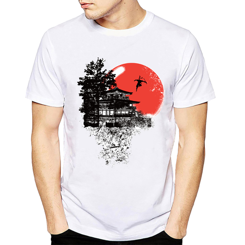 2019 New style summer man   t  -  shirt   Japanese Temple jump and fly Japan Armored Samurai Printed men   t     shirt   tops