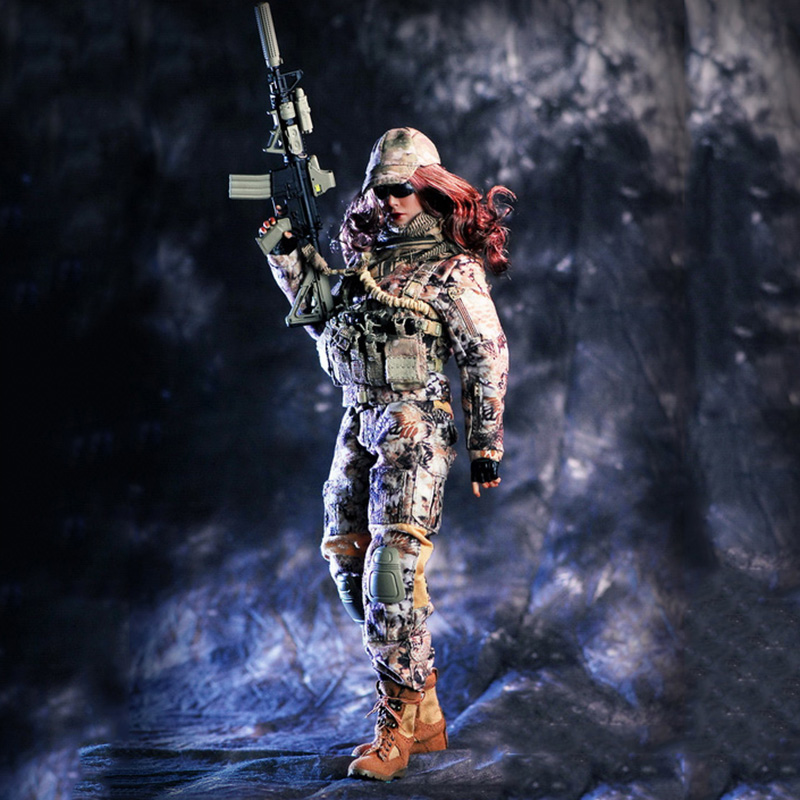 New 1/6 Female Commando Viper Camo Set With Gun Model Combat Suit For 12 inches HT PH Body Figures (without body and head) viper 1 mgd