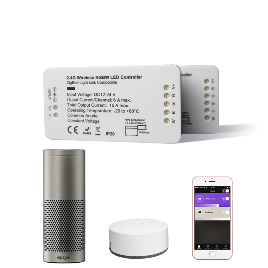 ZIGBEE Led Controller RGB+CCT WW/CW Controller LED DC12-24V LED Strip Controller ZLL APP Controller RGBW RGB Dimmer