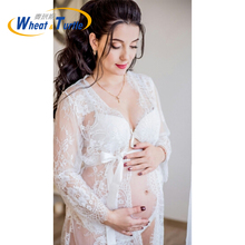 Maternity Photography Props Clothes Pregnant Lace Crochet Floral Dress Summer Women Photography Skirt Perspective Dress Beach summer new sexy deep v collar lace pregnant dress short sleeve long maternity dress clothes photography props tight tail dress