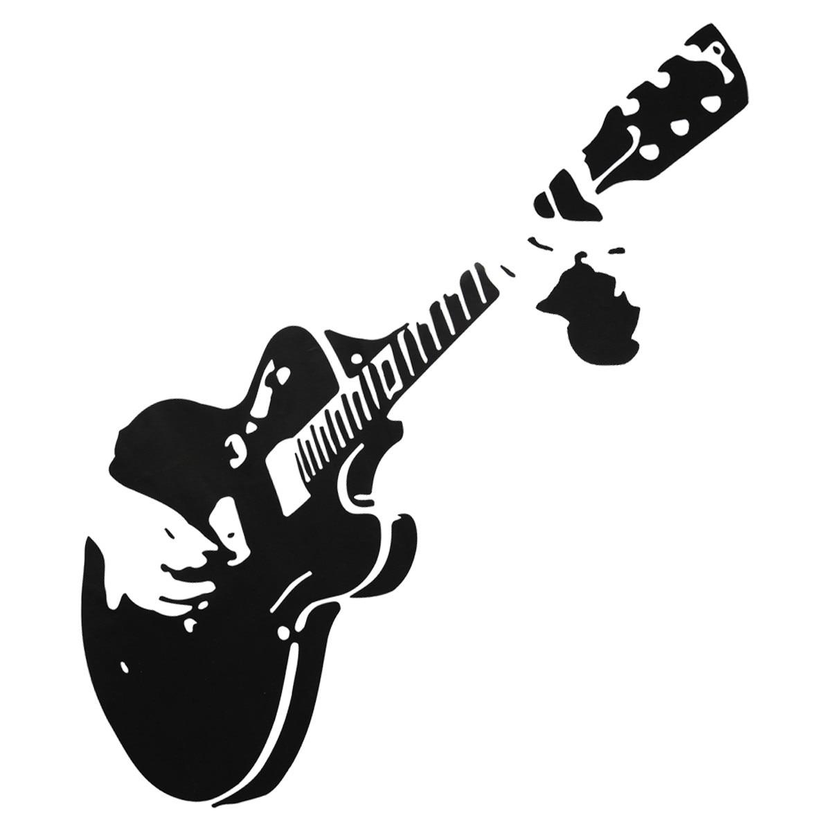 Black Pvc Guitar Guitarist Music Wall Sticker Home Art Decal Mural Wallpaper Decor Diy About 45x45cm Wallpapers Aliexpress