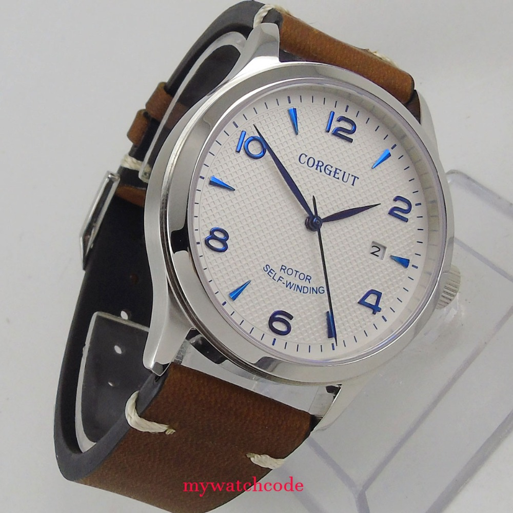 42mm corgeut white dial blue marks Sapphire Glass miyota Automatic mens watch C100 fashion 42mm parnis white dial blue marks 2017 luxury brand watch mens sapphire glass miyota 9100 automatic men s business watch