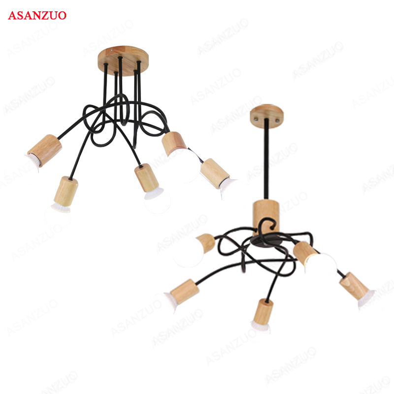 Nordic solid wood Ceiling Lights for living room retro art spider ceiling lamp E27 light fixtures