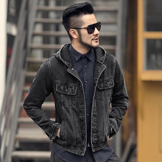 2018 Men New British Retro Hooded Denim Jacket Men Slim Casual