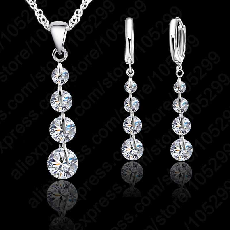 Romantic 925 Sterling Silver Color Link Chain Crystal  Pendant Jewelry Set  For Women Choker Wedding  Jewelry Set