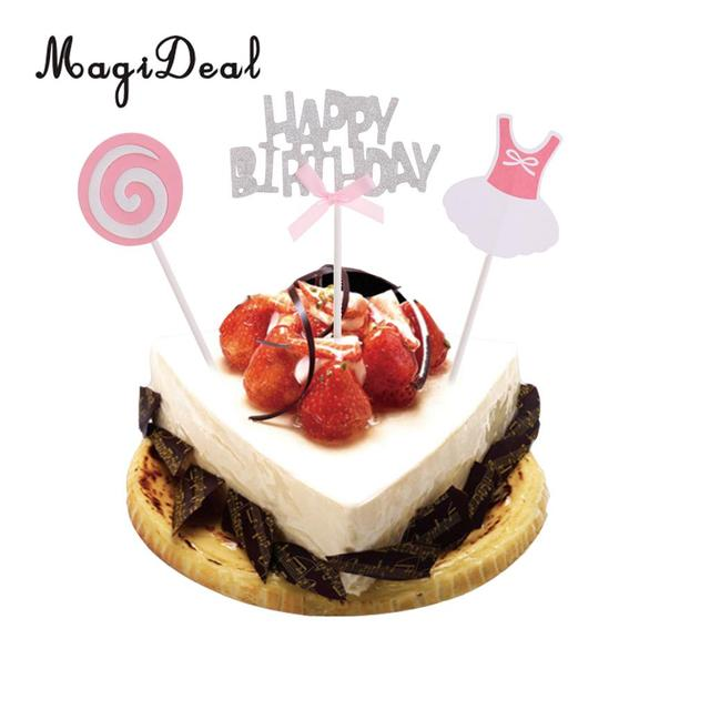 Magideal Cute 3xglitter Silver Happy Birthday Cake Topper Pick