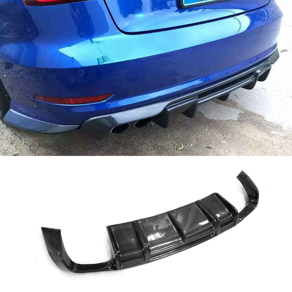Carbon Fiber <font><b>Rear</b></font> Lip Spoiler <font><b>Diffuser</b></font> for <font><b>Audi</b></font> <font><b>A3</b></font> Sline S3 Sedan 4 door Not <font><b>A3</b></font> Standard 2014 2015 <font><b>2016</b></font> Car Styling image